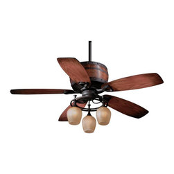 AireRyder - Cabernet 52 in. Ceiling Fan in Oil Burnished - 52 in. W x 52 in. D x 28 in. H. Blade Finish: Charred Oak. Blade Span: 52 in.. Blade Pitch: 14 Degrees. Motor Size: 188x15. Downrod Size: 6 in.. Number of Blades: 5. RPM (Hi/Med/Low): 165/115/75. Mounting Method: Triple Mount. Downrod Diameter: 3/4 in.. Lead Wire: 78 in.. Fan Speed & Light Dimmer Remote Control Included. Light Kit Included. 4,674 CFM; 57 Watts; 82 CFM/Watt. Downrod Diameter: 3/4 in.. Lead Wire: 78 in.. Number of Bulbs: 3. Bulb Wattage: 60 WATT. Bulb Type: E12. 52 in. W x 52 in. D x 28 in. H