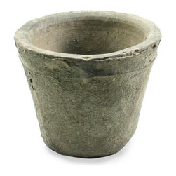 Rustic Terra Cotta Rose Pot - 9.75 x 9 - A cool, moody grey-green color gives a more formal, Northern feel to the Rustic Terra Cotta Rose Pot's naturally aged finish.  This hand-thrown planter, a tapered cylinder in a size useful to every gardener, serves to add a simple, stark, yet sculptural quality to the profile of a room or outdoor area.  The pared-down shape makes this natural clay piece more versatile.