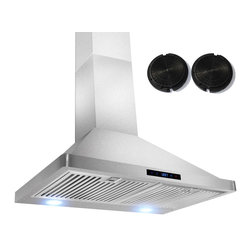 GOLDEN VANTAGE - GV 30-Inch Stainless Steel Wall Range Hood W/Carbon Filter For Ductless Option - Our Contemporary Europe design range hoods capture the most pollutants, grease, fumes, cooking odors in a quiet way but maintain a strong CFM From 300-900 depends on the style or model you choose. GV products not only provide top notch quality of material, we also offer led lighting, quiet chamber blower, adjustable telescopic chimney. All of our range hoods can convert to ventless/ductless options if outside exhaust not permitted.