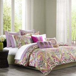 Echo - Echo Vineyard Paisley Comforter Set - The Echo Vineyard Paisley Bedding Collection features an overscaled classic paisley with a modern color palette of fuchsia, lavender and shades of green. Pops of color with bright white accents create the perfect balance of color. The unique details within this set allow you to update your d̩cor and make it look your own. Face: T300 100% cotton sateen fabric; Back: T180 100% cotton, 100% polyester filling; Bedskirt: 80/20 polyester cotton fabric for the platform, T180 100% cotton fabric for the drop