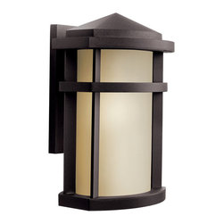 Kichler - Kichler 1-Light Outdoor Fixture - Architectural Bronze Exterior - One Light Outdoor Fixture The energy efficient lantana collection of outdoor lighting is handsomely stylish with solidly defined lines and done in architectural bronze finish and light umber glass. This 1 light wall lantern uses a 13-w bulb and is 9' wide, 13 high, extends 7 1/2 from the wall and has a height of 4 from the center of wall opening. Listed for wet location. Replacement bulb no 4043. U. S. Patent pending.