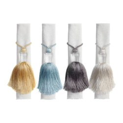 Z Gallerie - Tassel Napkin Ring - Set of 4 - Chicly embellish your dining table with the addition of our stunning Tassel Napkin Ring.  Inspired by Asian tassels and available exclusively at Z Gallerie, our Tassel Napkin Ring brings modern detailing, with its clear knob, to the otherwise traditional finishing ornament.  Distinctively cast out of clear acrylic, a 4 inch lustrous tassel graces your napkin, adding layers of luxe to any table setting. Available in Gold, Ivory, Seamist and Silver. Sold separately in sets of four.
