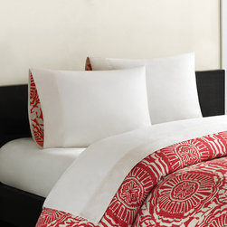 Echo - Echo Cozumel Sheet Set with Printed Cuff - Add a pop of color to your bedroom decor with the Cozumel sheet set made from 100-percent cotton. It features a medallion pattern in a red and white finish bordered with an ivory colored cuff. Machine washable for easy care and repeated use.