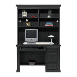 Winners Only - 2 Pc Ebony Finish Cape Cod Student Desk w Hut - Includes desk and hutch. Three drawers. Keyboard pullout. Adjustable wood shelves. Made from wood. Desk: 50 in. W x 24 in. D x 30.5 in. H (150 lbs.). Hutch: 51.5 in. W x 13 in. D x 46 in. H (140 lbs.)