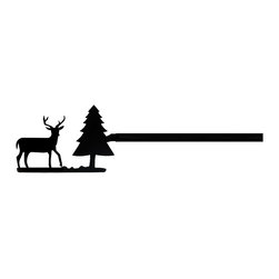 Village Wrought Iron - 203 Deer & Pine Curtain Rods - 203 Deer & Pine finely crafted curtain rods are available in four sizes. 21-35 inch, 36-60 inch, 61-112 inch and 113-130 inch. Rod lengths do not include the Silhouette or Finial ends. Standard end bracket mounting hardware and screws are included unless an alternate rod mounting hardware is selected. Our curtain rods are decorative, functional, long lasting and handcrafted in the USA using the finest materials and time- tested methods of craftsmanship. Quality and durability are priorities for our products. Our coated products have one of the most long-lasting finishes available - a flat black baked-on powder coated finish that will last for many years. Silhouette approximate size is 5 Inch W x 3 1/2 Inch H. Rod diameter is .50 inch. Silhouettes are welded in place for added security. Standard Center Support mounting hardware and screws are included for curtain rods 61 inches and longer unless alternate mounting hardware is selected. Supporting American Workers where the timeless trade of ironworking can still be found.