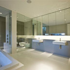 Frameless Shower Enclosures - Frameless shower enclosure, with separate frameless toilet area.  Despite this bathroom being fairly large, the client wished to have a full wall of flush mounted medicine cabinets, concealing bath toiletries.  Sleek modern design, with recessed lighting makes this space dramatic and beautiful.