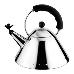 Alessi - Alessi 9093 Kettle - Kettle in 18/10 stainless steel with handle and bird whistle in PA. This celebrated kettle with the bird that sings when the water has boiled was a great success when it was introduced in 1985, and for Alessi it represented a meeting of great design and mass production methods, a combination that Michael Graves worked hard to achieve, applying his personal visual code which fused influences from Art Deco to Pop Art and even the language of cartoons.
