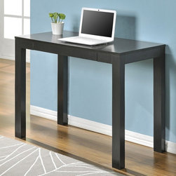 Altra - Altra Parsons Desk with Drawer - Espresso Dark Brown - 9178696 - Shop for Desks from Hayneedle.com! Anything is possible at the wide-open Altra Parsons Desk with Drawer - Espresso. Crafted with durable particle board and laminate this modern desk boasts a super-spacious work top squared block legs a deep espresso finish and a convenient drawer for supplies and paper.About Ameriwood ProductsAmeriwood Industries is one of the leading manufacturers of wood products such as unassembled furniture stereo speaker cases and stereo component racks in the United States. For more than 30 years Ameriwood has helped furnish homes across North America with ready-to-assemble furniture. Crafted from engineered wood Ameriwood products are dense and durable for years of use.