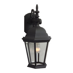 """Exteriors - Exteriors Cast Aluminum Straight Glass Outdoor Wall Sconce - Medium X-50-452Z - The design of the cast aluminum outdoor wall sconce is sure to allure any consumer. The construction of a virtually """"maintenance- free"""" finish is made to withstand the test of time and various weather elements. Featured with clear beveled glass, this wall sconce is great for builder communities, condominiums, apartment buildings. Or, near your garage, on your deck, patio, or porch."""