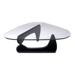 """IFN Modern - Noguchi Style Coffee Table, Black - Designer and sculptor Isamu Noguchi was famous for his organic modern design methods. It was originally created in 1954 by Isamu Noguchi and the Noguchi Coffee Table is analogous with simplicity and minimalistic beauty. The highlighting feature of this table is the elegantly shaped curves which flow together to create a tripod supported by 0.75"""" thick glass. The Noguchi Coffee Table is the epitome of transparent design that is multifaceted enough to fit anywhere.                                                                                                                                                                     Overall Dimensions: 15.7"""" H x 51.2"""" W x 35.8"""" D"""