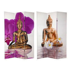 Oriental Furniture - 6 ft. Tall Double Sided Thai Buddha Room Divider - This outstanding canvas floor screen is printed with two beautiful photographs of two distinctive ancient Southeast Asian Buddha statues. Both statues have the knotted hair and pointed top knot unique to Buddha statues crafted in Burma, Thailand, Laos, Vietnam, and Cambodia. Also note the shimmering foreground and beautiful flowers on both images, symbolic of the reverence for Buddhist art in the hearts of the craftsman of the region.