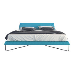 Modloft - Irving Caneel Bay Blue Platform Bed, Eastern King - Softly angled polished flat steel legs contrast with luxurious Novatex upholstery made of poly/cotton/viscose/linen blend. No box spring necessary. Mattress not included.
