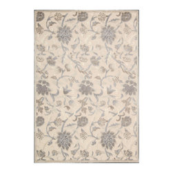 """Nourison - Nourison Graphic Illusions GIL06 2'3"""" x 3'9"""" Ivory Area Rug 13138 - A meandering floral, leaf and vine design emanates a casual feel that is still somehow sophisticated. In arresting shades of green, brown, beige, blue, ivory and vermillion, this gorgeous area rug's superb hand carving and high-low loop pile construction puts the lap of luxury directly at your feet."""