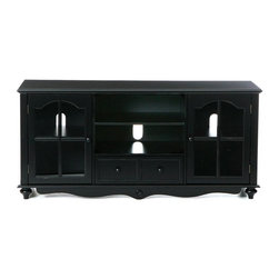 Holly & Martin - Holly & Martin Roosevelt Large TV Console in - TV console has space for your media equipment on the middle shelves. Underneath is a drawer so you'll always know where the remote is! On either side are glass paned doors that keep your CDs and DVDs where you can see them. * The Coventry media center utilizes 1 large open adjustable shelf in the middle above two side by side drawers to fit electronics and media equipment. There are cabinet doors on either side housing 1 adjustable shelf each. Wide top makes it capable of holding a wide range of TV's and equipment. With so much space and the distressed antique finish the Coventry collection is sure to bring form and function into you home. The doors of the cabinets have glass windows and magnetic latches. Assembly: Required. Material of construction: Ruber wood / MDF / 3 mm. clear Glass. 52 in. W x 24 in. H x 16 in. D. Top: 51 in. W x 16 in. D