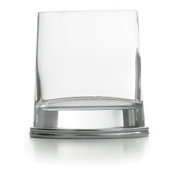 Milano Double Old Fashioned 2-Pack - Toast your good fortune and excellent taste in drinkware with a pair of distinctive glass and pewter highball glasses.  Sized just right for the double old-fashioned, these glasses are round tumblers which flow into sturdy, substantial bases made from the finest of authentic Italian pewter.  The skill of traditional artisans is visible in each neatly-produced line of these unusual glasses, making them elite even as they blend with your favorite barware.