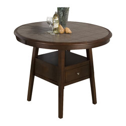 Jofran - Jofran 976 Series Round Counter Height Dining Table in Caleb Brown (Table Only) - Jofran - Dining Tables - 97648T48BKIT This Jofran Dining Table has solid Asian hardwood construction in a Caleb Brown finish. It features a round shaped Terra tile top and a pedestal base with a pull-thru storage drawer.