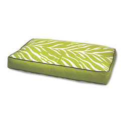 ez living home - Zebra Memory Foam Topper Pillow Bed Lime - Your old furry friend may not be quite the wild thing he used to be, but don't tell him that. Just get him this comfy memory foam topper pillow bed covered with a bold, exotic zebra print. The orthopedic foam will ease his tired joints as he dreams about chasing that zebra across the savanna. The lime and white stripe print is reversible, so you can decide exactly how much sassy color to add to the room.