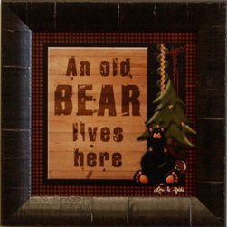 KAF - An Old Bear Lives Here Framed Cabin Wall Decor Print - This  rustic  wall  decor  is  perfect  for  your  home  or  cabin.  With  the  cute  saying  An  old  bear  lives  here,  it  will  be  sure  to  add  smiles  all  around.  The  antique  frame  gives  the  perfect  finishing  touch.