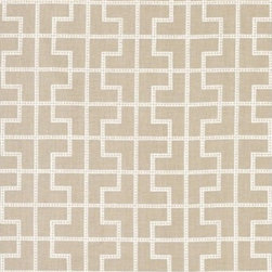 "Schumacher - Bleecker Fabric - What does ""distinguished"" mean to you? This impressive linen fabric will tell you all you need to know. With its bold, elegant geometric pattern and refined color palette, you'll up the ante on your home's good taste. Go big and upholster a vintage wingback chair or start small with a chic wooden footstool. There's a two-yard minimum order."