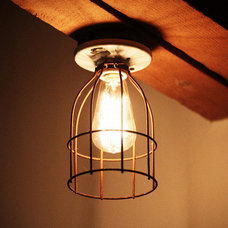 contemporary ceiling lighting Vintage / Industrial style porcelain light fixture with metal cage