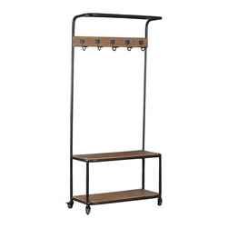 Linon Home Decor - Linon Home Decor Metal and Wood Hall Tree X-U1KLBLLAHMMA - Add industrial style and storage to an entry, hall or mud room with this Metal and Wood Hall Tree. Four wheels with brakes provide for easy mobility and sturdy safety. Rustic Fir Wood accents the bench top, line of hooks and bottom shelf. A top metal shelf is perfect for keeping lightweight baskets or blankets within reach while a wood bottom shelf is perfect for keeping shoes and bags out of the way. The simple design is perfect for all decor styles.