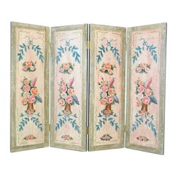 Wayborn - Wayborn Hand Painted Floral Wall Room Divider - Wayborn - Room Dividers - 4760X - Wayborn hand painted screens start with a cedar plywood frame covered in a cheesecloth material. Then layer after layer of plaster is applied; each layer must dry before another layer can be applied. After all the plaster has been applied several coats of lacquer is put over the entire surface. At that time the artist begins to sketch out the painting directly on the panels of the screen and begins painting the design with water based paint.  Each one of these screens has its own characteristics and is truly a work of art.