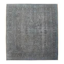 1800-Get-A-Rug - Square Hand Knotted 100% Wool Old Persian Mashad Silver Wash Rug Sh15483 - Oriental rugs are famously known to gain more value over time. An authentic Antique or Semi-Antique rug is not only an instant centerpiece in any setting, but is a wonderful investment which only increases over the years. This collection features rare and valuable authentic hand-knotted area rugs from all over the world at exclusive discount prices.