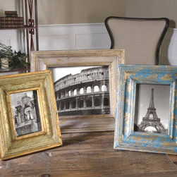 Suvarna, S/3 - Gold leaf photo frames with blue, gray and light green glazes. Holds photo sizes 4×6, 5×7 and 8×10.