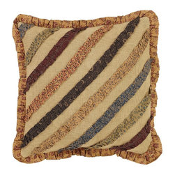 """VHC Brands - Lewiston Burlap Pillow - This pillow measures 16""""x16"""" and is 100% cotton burlap fabric with fabric ruffles sewn onto the front. The back features a 3"""" overlap with 2-buttons to conceal pillow insert. Spot clean with a damp cloth."""