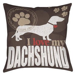 """Manual - Pair of """"I Love My Dachshund"""" Dog Print Throw Pillows 18 Inch - This pair of 18 inch by 18 inch printed fabric throw pillows adds a wonderful accent to the home of any lover of this wonderful breed. The pillows feature a brown background with tan paw prints, a tan seal of approval, a silhouette Dachshund dog, and """"I Love My Dachshund"""" at the bottom. They have 100% polyester stuffing. These pillows are crafted with pride in the Blue Ridge Mountains of North Carolina, and add a quality accent to your home."""