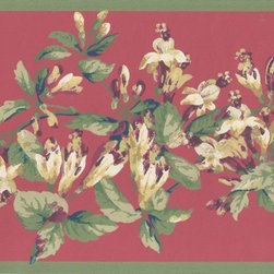 York Wallcoverings - Green Red Painted Floral Wallpaper Border - Wallpaper borders bring color, character and detail to a room with exciting new look for your walls - easier and quicker then ever.