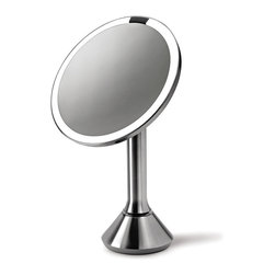 simplehuman - simplehuman Stainless Steel Sensor Vanity Mirror - This stainless steel mirror includes an on/off sensor that automatically lights up as your face approaches. The LEDs will perform like new even after many years of regular use.