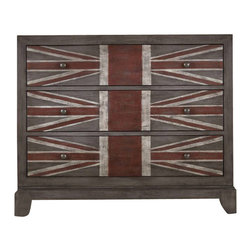 Hooker Furniture - British Flag Chest - Get your inner Anglophile on display with the cheeky British-flag-inspired chest. You'll want to sip tea and munch crumpets or blast the Clash. Either way you'll make a revolutionary statement with this bureau.