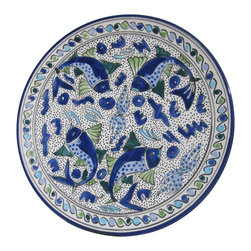 Le Souk Ceramique - Aqua Fish Large Round Platter - 15 in. wide. Hand Painted . Hand Made . Dishwasher safe . Microwave safe . Made in Tunisia. Lead free glazes . Meets CA Prop 65 . Meets all Federal StandardsThe Aqua Fish pattern is a classic. Drenched in cool hues of azure, aqua and sea green and a coveted deep cobalt blue, Aqua Fish is a design awash in fun. Just imagine a summer seafood feast served with these bowls and platters.
