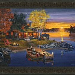 """Peaceful Evening 20x28 Print - """"Peaceful Evening"""" is a cabin landscape canvas giclee by Fred Dingler. We present this to you in a red ceder wood finished fram, making an overall framed size of 20x28."""