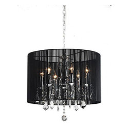 None - Chrome and Black 6-light Crystal Chandelier - Give your home a modern embellishment with this beautiful contemporary six-light crystal chandelier. This chandelier's long 39.5-inch drop, elegant black shade, dripping crystals, and chrome finish make it an exquisite talking piece.
