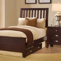 Vaughan Bassett - Twin Size Slat Bed w Nightstand in Merlot Fin - Includes twin size slat bed and nightstand. Merlot finish. Assembly required. Twin size slat bed:. Includes slat headboard, platform footboard and wood rails. Slat headboard: 41 in. L x 4 in. W x 52 in. H. Platform footboard: 42 in. L x 2.5 in. W x 21 in. H. Wood rails: 74 in. L x 6 in. W x 1 in. H. Nightstand:. 2 Drawers. 26 in. W x 16 in. D x 29 in. H. Under bed storage box: 52 in. L x 19 in. W x 7.5 in. H (optional)