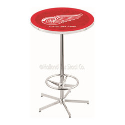 Holland Bar Stool - Holland Bar Stool L216 - 42 Inch Chrome Detroit Red Wings Pub Table - L216 - 42 Inch Chrome Detroit Red Wings Pub Table  belongs to NHL Collection by Holland Bar Stool Made for the ultimate sports fan, impress your buddies with this knockout from Holland Bar Stool. This L216 Detroit Red Wings table with retro inspried base provides a quality piece to for your Man Cave. You can't find a higher quality logo table on the market. The plating grade steel used to build the frame ensures it will withstand the abuse of the rowdiest of friends for years to come. The structure is triple chrome plated to ensure a rich, sleek, long lasting finish. If you're finishing your bar or game room, do it right with a table from Holland Bar Stool.  Pub Table (1)