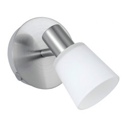 Eglo - Gino 1 Light Ceiling/Wall Light - Gino 1 Light Ceiling/Wall Light in Matte Nickel Finish with White Glass