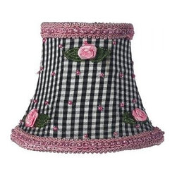 Black Check Pink Rosebud Chandelier Shade - *Adorably cute! Black check silk is accented with pink pearls, green beaded leaves and pink ribbon rosebuds.