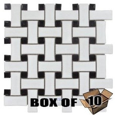 Amazon.com: Basketweave - basketweave porcelain mosaic tile in white & black: Ho