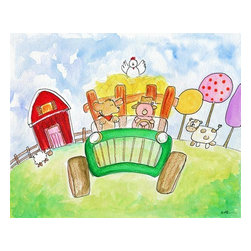 Oh How Cute Kids by Serena Bowman - Old MacDonald's Farm, Ready To Hang Canvas Kid's Wall Decor, 20 X 24 - Every kid is unique and special in their own way so why shouldn't their wall decor be so as well! With our extensive selection of canvas wall art for kids, from princesses to spaceships and cowboys to travel girls, we'll help you find that perfect piece for your special one.  Or fill the entire room with our imaginative art, every canvas is part of a coordinating series, an easy way to provide a complete and unified look for any room.