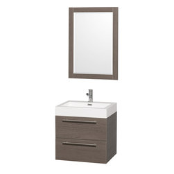 Wyndham - Amare 24in. Wall Vanity Set in Grey Oak w/ Acrylic-Resin Top and Integrated si - Modern clean lines and a truly elegant design aesthetic meet affordability in the Wyndham Collection Amare Vanity. Available with green glass or pure white man-made stone counters, and featuring soft close door hinges and drawer glides, you'll never hear a noisy door again! Meticulously finished with brushed Chrome hardware, the attention to detail on this elegant contemporary vanity is unrivalled.