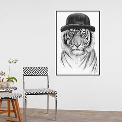 My Wonderful Walls - Tiger Wall Sticker - Welcome to the Jungle by Balázs Solti, Small - - Product:  tiger in hat decal