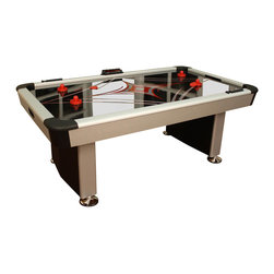 American Heritage - Electra Air Hockey Table - Powerful single blower. Electronic and manual scorers. Stylish contemporary cabinet. Screen printed diamond surface. Made from formica. Assembly required. Playing field: 77 in. L x 41.5 in. W. Overall: 84 in. L x 48 in. W x 32 in. HThe Electra AeroMaxx Series Air powered hockey table is fun, fast and will provide hours of friendly competition