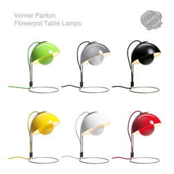 FlowerPot VP4 Table Lamp & Verner Panton FlowerPot Lamps - Flowerpot VP4 table lamp &Tradition: The Flowerpot VP4 desk lamp by designer Verner Panton for &Tradition in the Verner Panton Online Shop from Stardust. Verner Panton (1926-1998) was a master of the fluid, futuristic style of 1960s design which introduced the Pop aesthetic to furniture and interiors. Verner Panton Flowerpot VP4 Table Lamp available in various colors from Stardust.