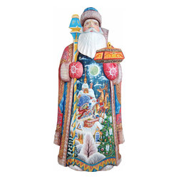 "Artistic Wood Carved Santa Claus Special Delivery Sculpture - Measures 14""H x 7.5""L x 4""W and weighs 5 lbs. G. DeBrekht fine art traditional, vintage style sculpted figures are delightful and imaginative. Each figurine is artistically hand painted with detailed scenes including classic Christmas art, winter wonderlands and the true meaning of Christmas, nativity art. In the spirit of giving G. DeBrekht holiday decor makes beautiful collectible Christmas and holiday gifts to share with loved ones. Every G. DeBrekht holiday decoration is an original work of art sure to be cherished as a family tradition and treasured by future generations. Some items may have slight variations of the decoration on the decor due to the hand painted nature of the product. Decorating your home for Christmas is a special time for families. With G. DeBrekht holiday home decor and decorations you can choose your style and create a true holiday gallery of art for your family to enjoy. All Masterpiece and Signature Masterpiece woodcarvings are individually hand numbered. The old world classic art details on the freehand painted sculptures include animals, nature, winter scenes, Santa Claus, nativity and more inspired by an old Russian art technique using painting mediums of watercolor, acrylic and oil combinations in the G. Debrekht unique painting style. Linden wood, which is light in color is used to carve these masterpieces. The wood varies slightly in color."