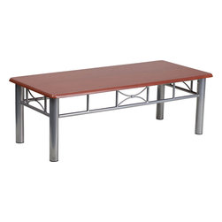 Flash Furniture - Mahogany Laminate Coffee Table with Silver Steel Frame - This durable laminate table will make a great addition to your reception or office to hold magazines and decorative items.