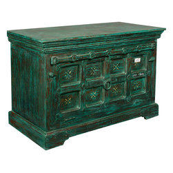 Sierra Living Concepts - Emerald Green Drawbridge Reclaimed Wood Storage Cabinet - You gain access to the chest, not through the top but by releasing the front, it lowers down like a drawbridge and is held in place by two chains. The two shelf cupboard can be used as a buffet, media center, or bedroom dresser.  The entire storage system is built with eco-responsible reclaimed wood from Gujarat.  The old wood surfaces are naturally seasoned over time.
