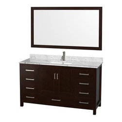 "Wyndham Collection(R) - Sheffield 60"" Single Bathroom Vanity by Wyndham Collection - Espresso - Distinctive styling and elegant lines come together to form a complete range of modern classics in the Sheffield Bathroom Vanity collection. Inspired by well established American standards and crafted without compromise, these vanities are designed to complement any decor, from traditional to minimalist modern.Available in multiple sizes and finishes.The Wyndham Collection is an entirely unique and innovative bath line. Sure to inspire imitators, the original Wyndham Collection sets new standards for design and construction.FeaturesConstructed of environmentally friendly, zero emissions solid wood, engineered to prevent warping and last a lifetime12-stage wood preparation, sanding, painting and finishing processHighly water-resistant low V.O.C. sealed finishBeautiful transitional styling that compliments any bathroomPractical Floor-Standing DesignMinimal assembly requiredDeep Doweled DrawersFully-extending under-mount soft-close drawer slidesConcealed soft-close door hingesCounter options include Ivory Marble and White Carrera Marble Counter includes 3"" backsplashAvailable with Porcelain undermount sink(s)Oval sink(s) available with pre-drilled 8"" Widespread 3-Hole faucet mountsSquare sink(s) available with pre-drilled Single-Hole faucet mounts. Additional holes may be drilled by customer on site.Faucet(s) not includedMetal exterior hardware with brushed chrome finishTwo (2) functional doorsSeven (7) functional drawersPlenty of storage spaceVariations in the shading and grain of our natural stone products enhance the individuality of your vanity and ensure that it will be truly uniquePlenty of counter spaceHow to handle your counterSpec SheetSpec Sheet for 58"" MirrorSpec Sheet for Medicine CabinetSpec Sheet for Linen TowerInstallation GuideInstallation Guide for Medicine CabinetView Spec Sheet for Fiona Side Cabinet (WC-B800)View Spec Sheet for Rotating Wall Cabinet with mirror (WC-B802) View Spec Sheet for Wall Cabinet (WC-B803) View Spec Sheet for Wall Cabinet (WC-B805) View Spec Sheet for Wall Cabinet (WC-B807)Natural stone like marble and granite, while otherwise durable, are vulnerable to staining from hair dye, ink, tea, coffee, oily materials such as hand cream or milk, and can be etched by acidic substances such as alcohol and soft drinks. Please protect your countertop and/or sink by avoiding contact with these substances. For more information, please review our ""Marble & Granite Care"" guide."